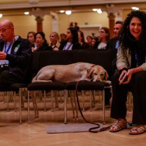 Hlavní organizátor Božidar Radišič, Dr. Sue Sisley a její pes Dodger.