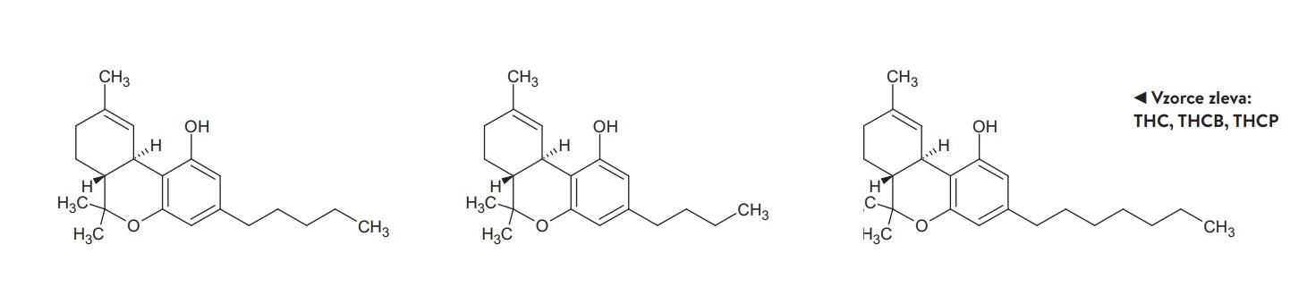 Vzorce zleva: THC, THCB, THCP.