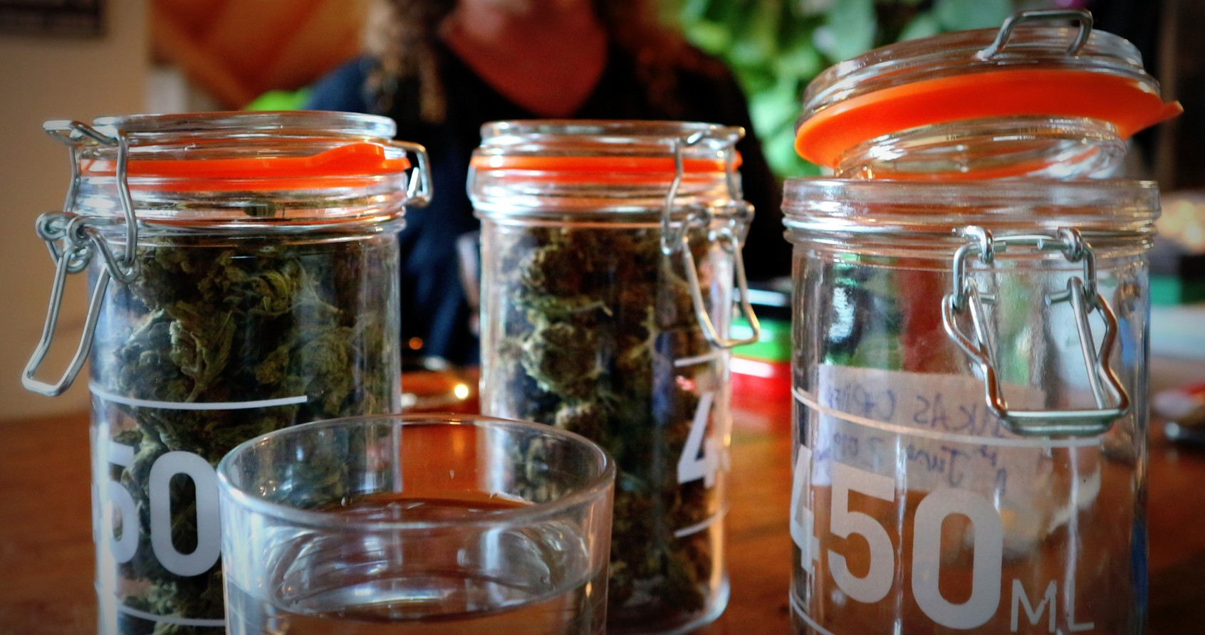 CBD rich cannabis in jars.