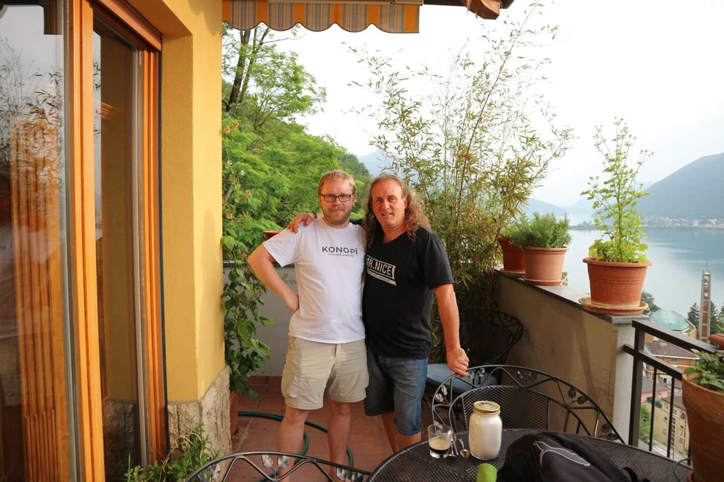 Author and Shantibaba in Lugano.