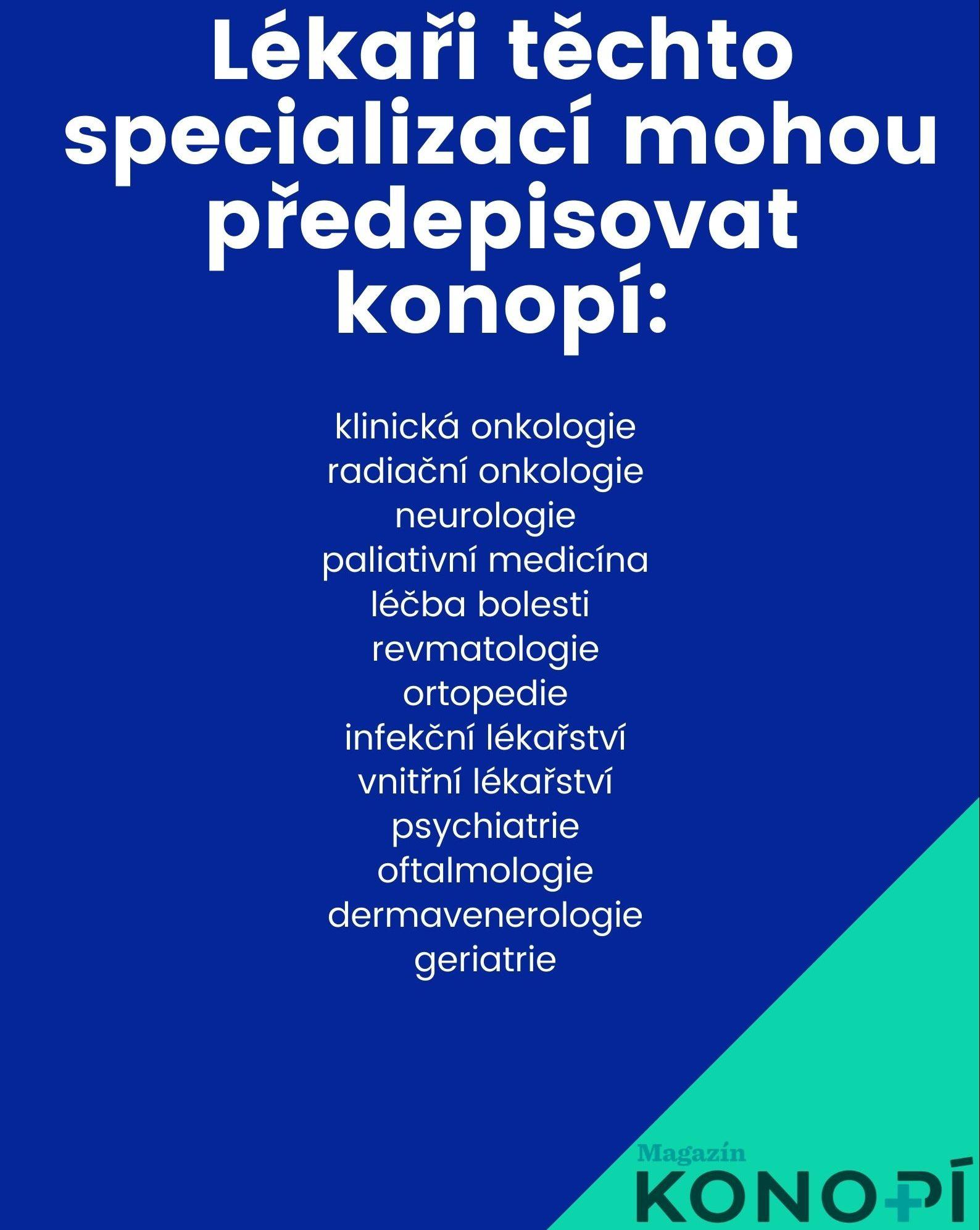 Lékařské specializace oprávněné předepisovat léčebné konopí.